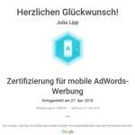 Zertifikat Mobile-AdWords-Werbung