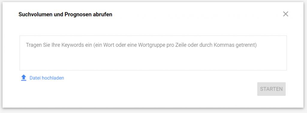 Google Keyword Planner: Suchvolumen